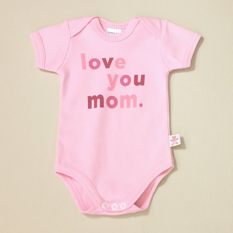 Mother's Day Love You Mom Lap Shoulder Baby Bodysuit Made in Canada