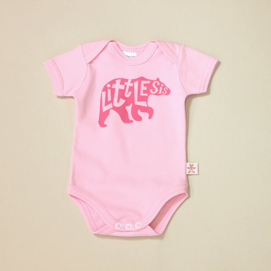 Little Sis Bear graphic baby snap bodysuit