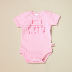 Little Sister Arrow graphic baby snap bodysuit