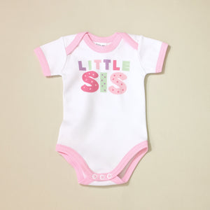 Little Sis graphic baby snap bodysuit