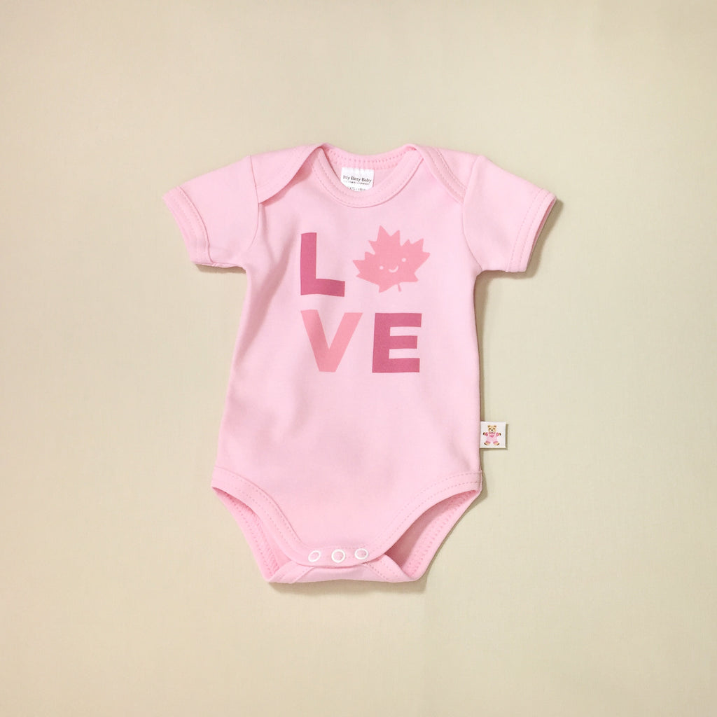 L O V E Canada Pink graphic baby snap bodysuit