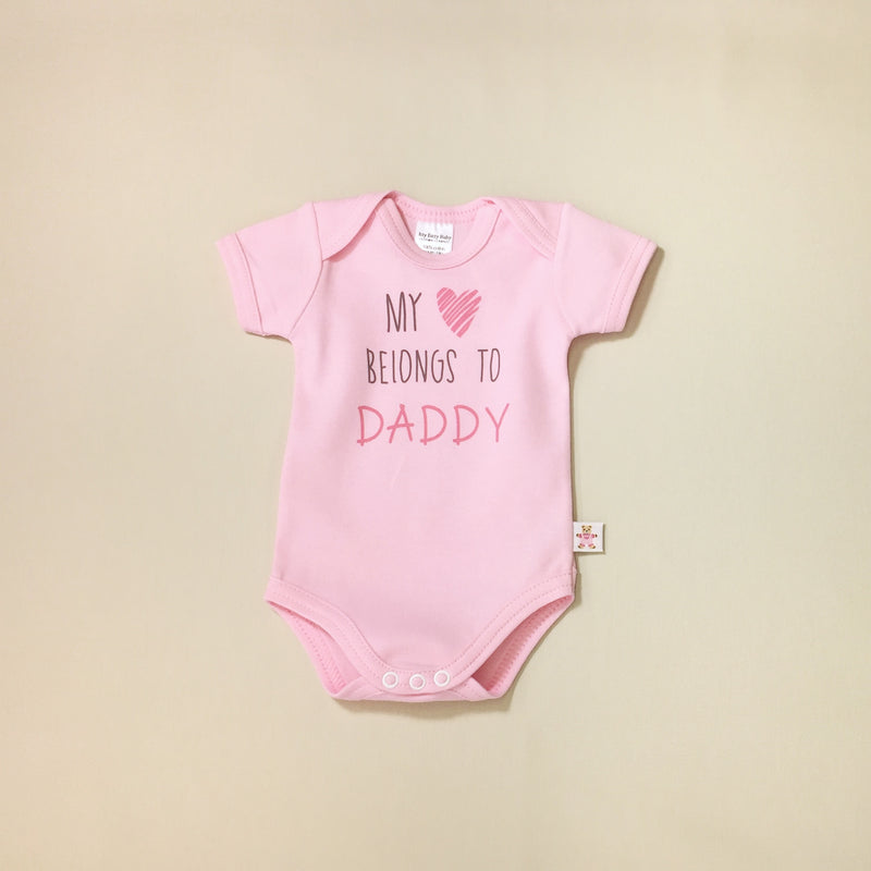My Heart Belongs to Daddy graphic baby snap bodysuit