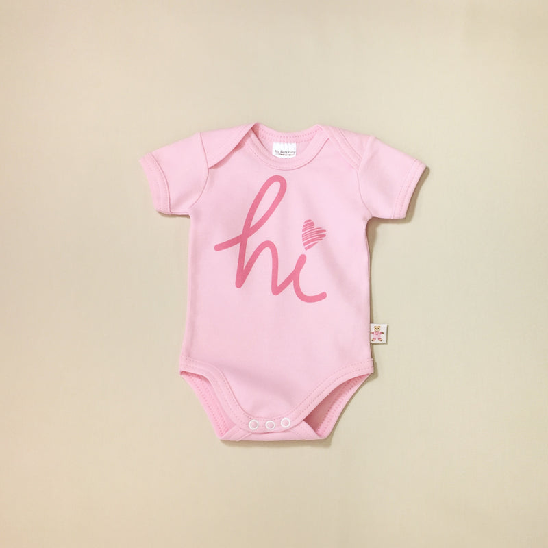 Pink Hi graphic baby snap bodysuit