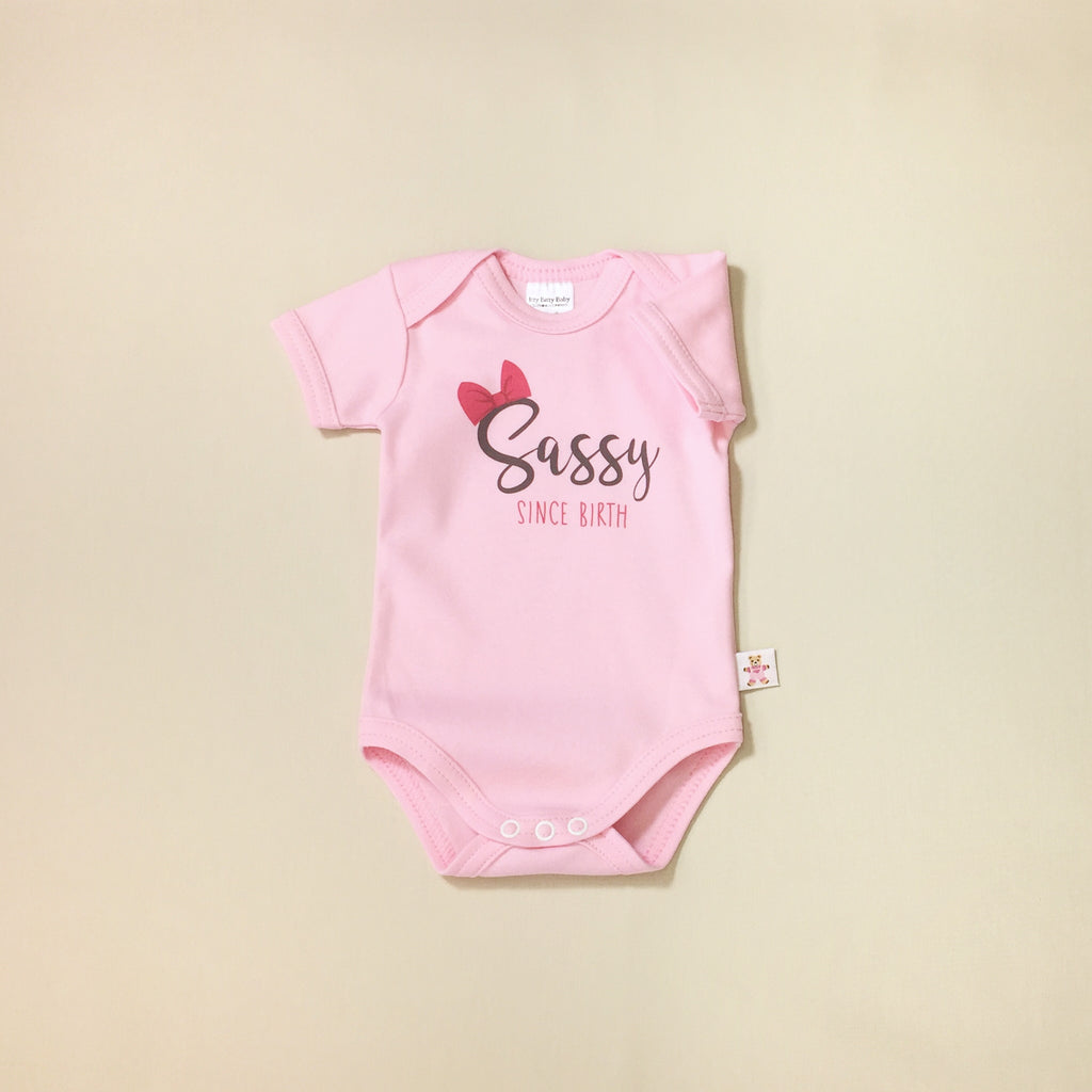 Sassy Since Birth graphic baby snap bodysuit