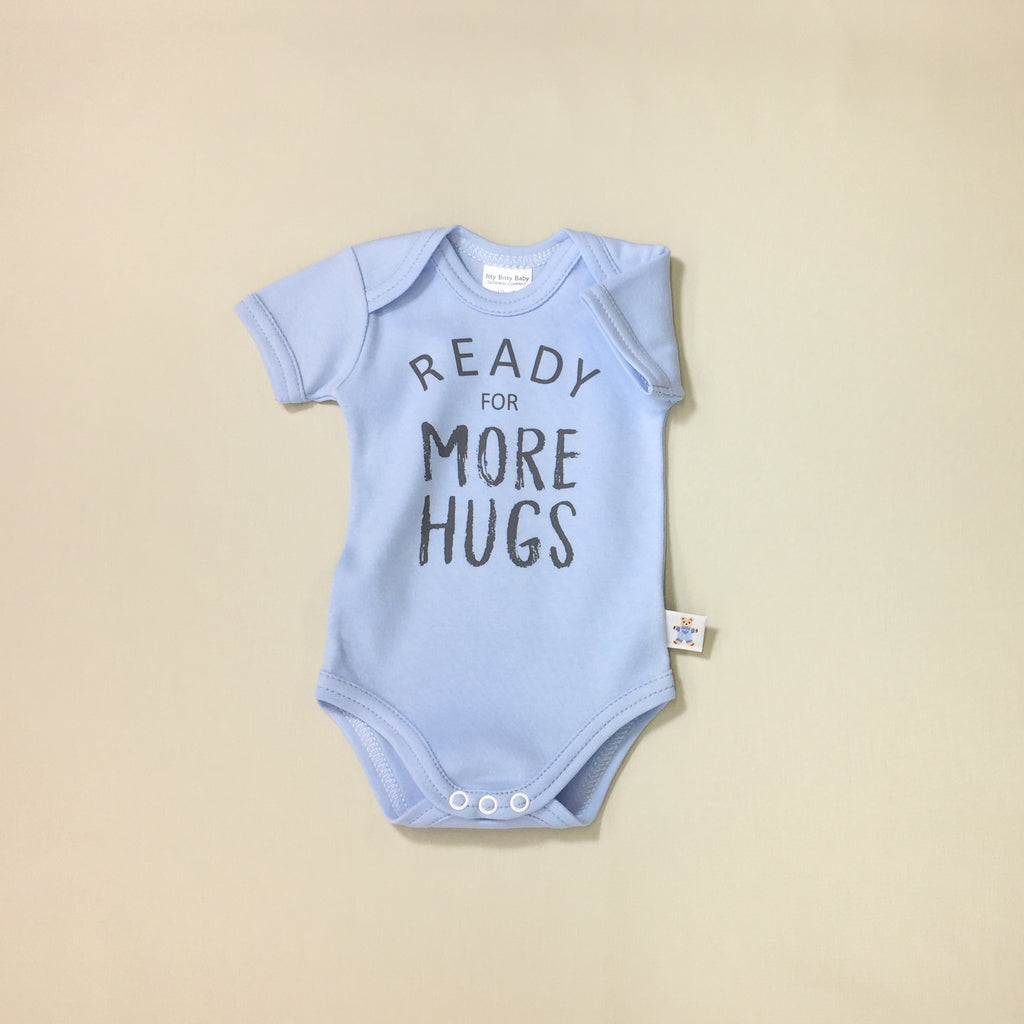 Ready for More Hugs Blue graphic baby snap bodysuit