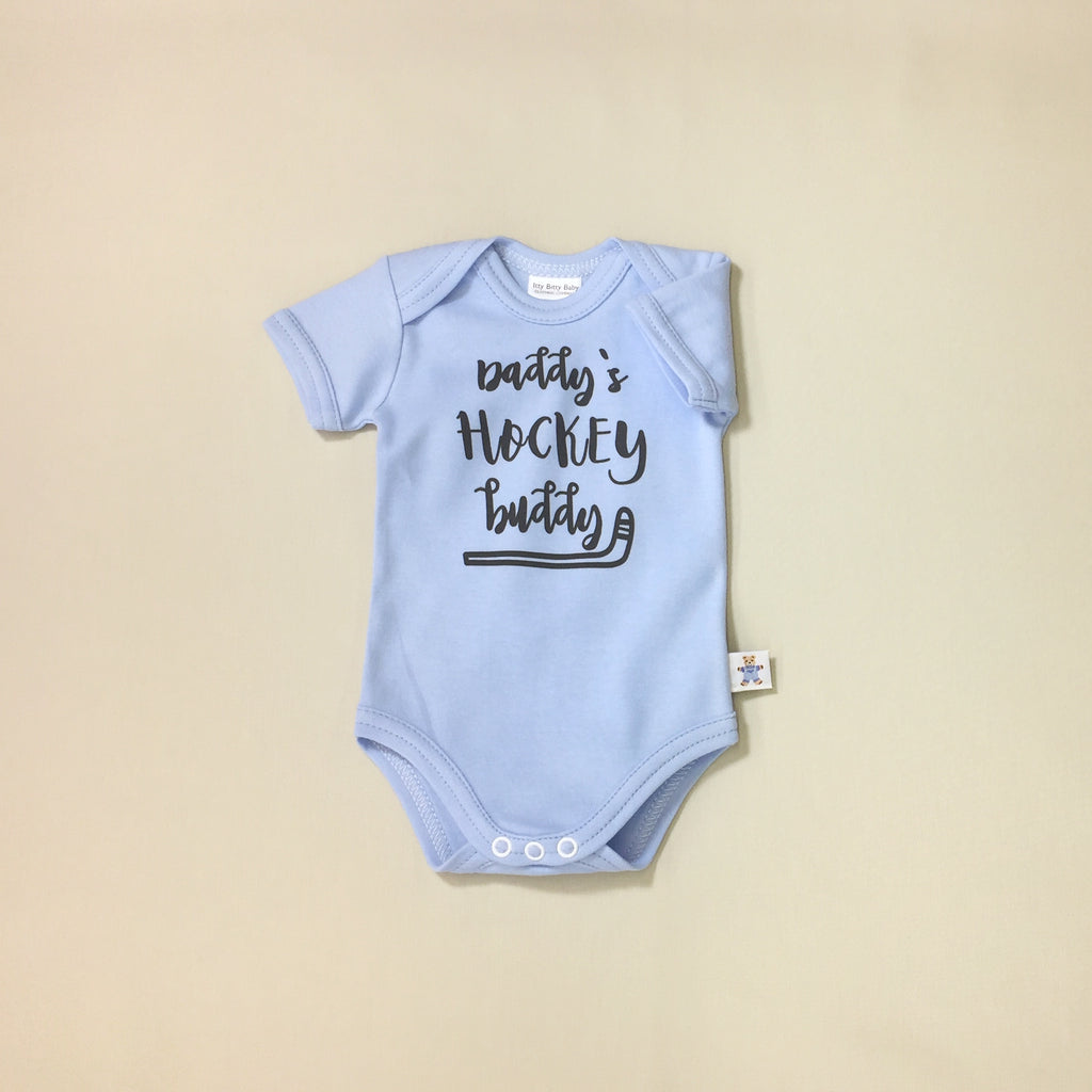 Daddy's Hockey Buddy graphic baby snap bodysuit