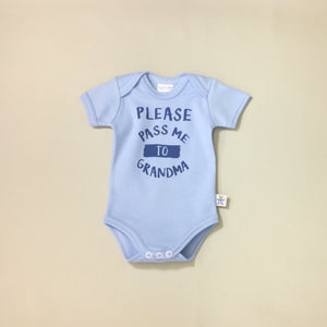 Please Pass Me to Grandma Blue graphic baby snap bodysuit