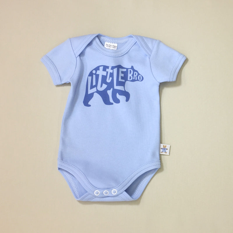 Little Bro Bear graphic baby snap bodysuit