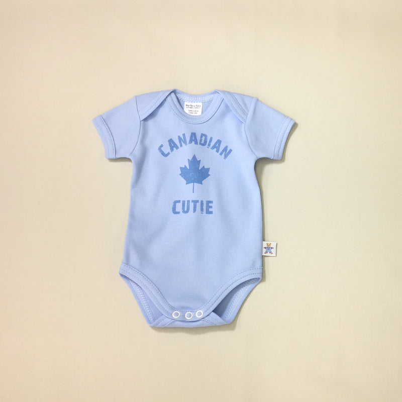 Canadian Cutie Blue graphic baby snap bodysuit
