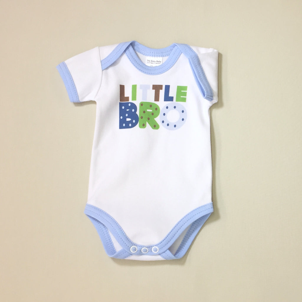 Little Bro graphic baby snap bodysuit