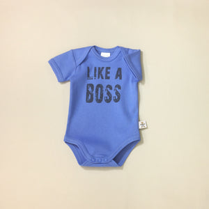 Like A Boss Deep Blue graphic baby snap bodysuit