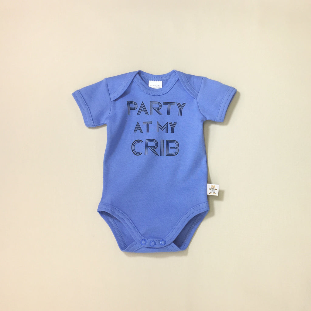 Party At My Crib graphic baby snap bodysuit