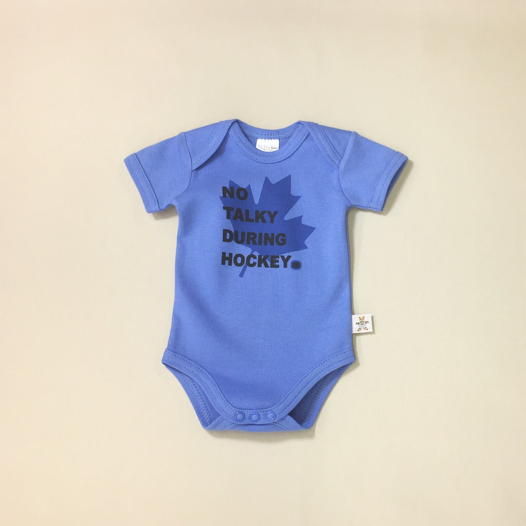 No Talking During Hockey graphic baby snap bodysuit