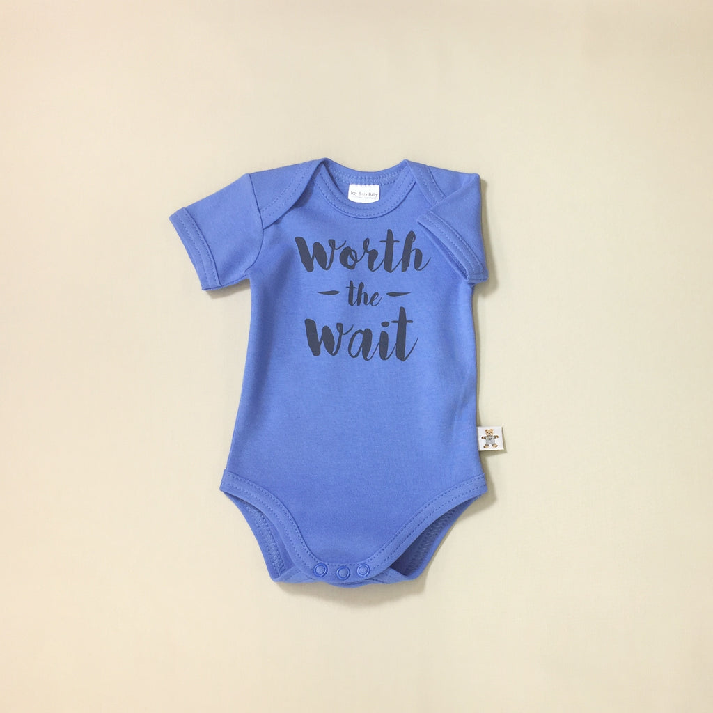 Worth the Wait Deep Blue graphic baby snap bodysuit