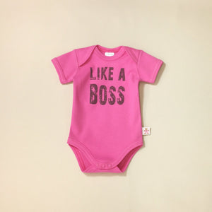 Like A Boss Fuchsia graphic baby snap bodysuit