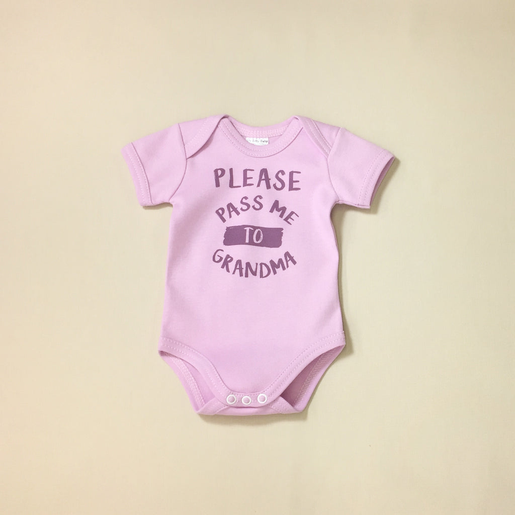 Please Pass Me to Grandma Lilac graphic baby snap bodysuit
