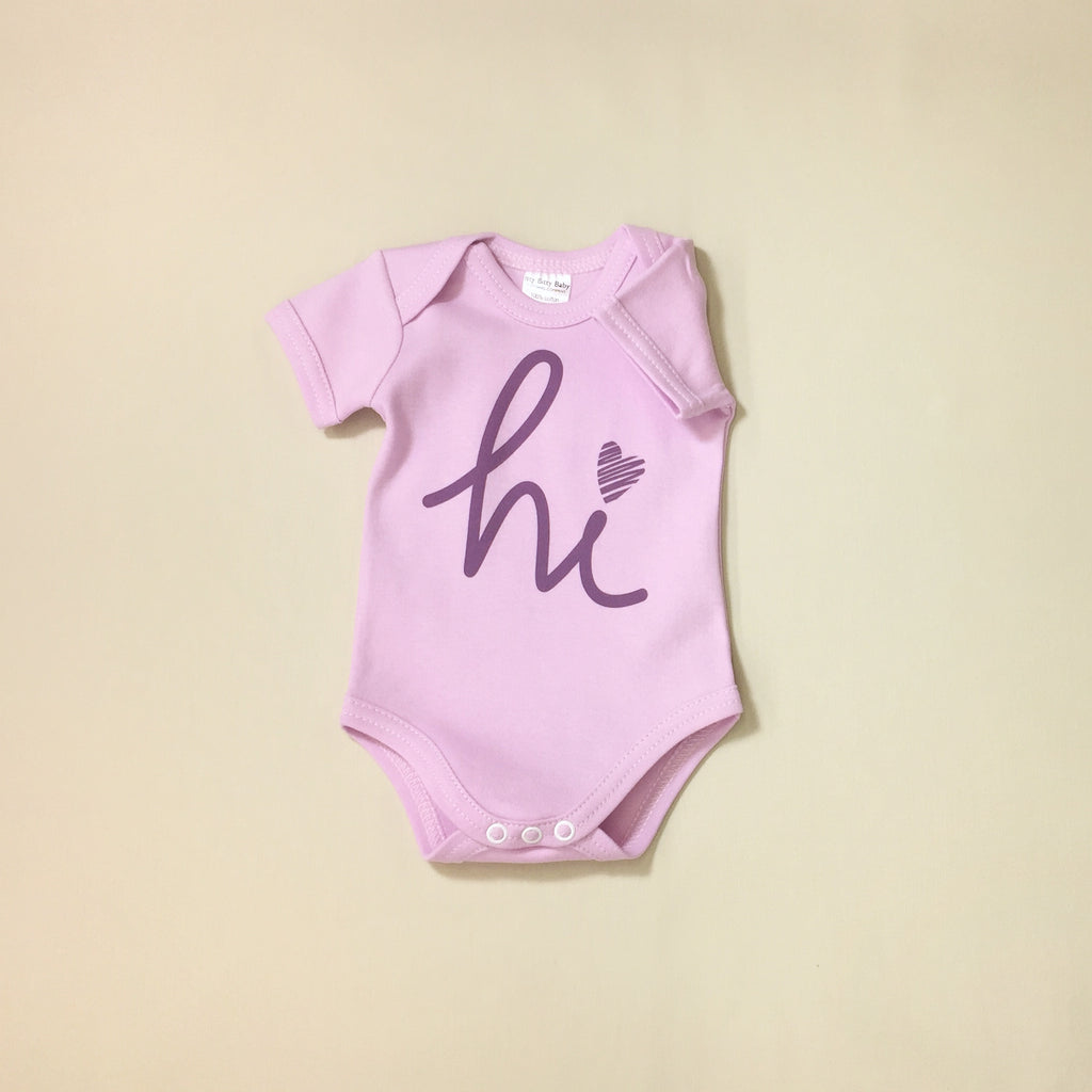Lilac Hi graphic baby snap bodysuit