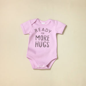 Ready for More Hugs Lilac graphic baby snap bodysuit