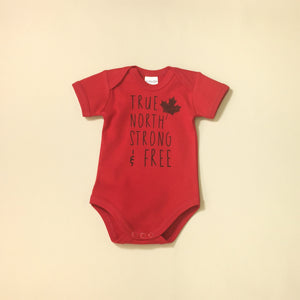 true north strong baby onesie