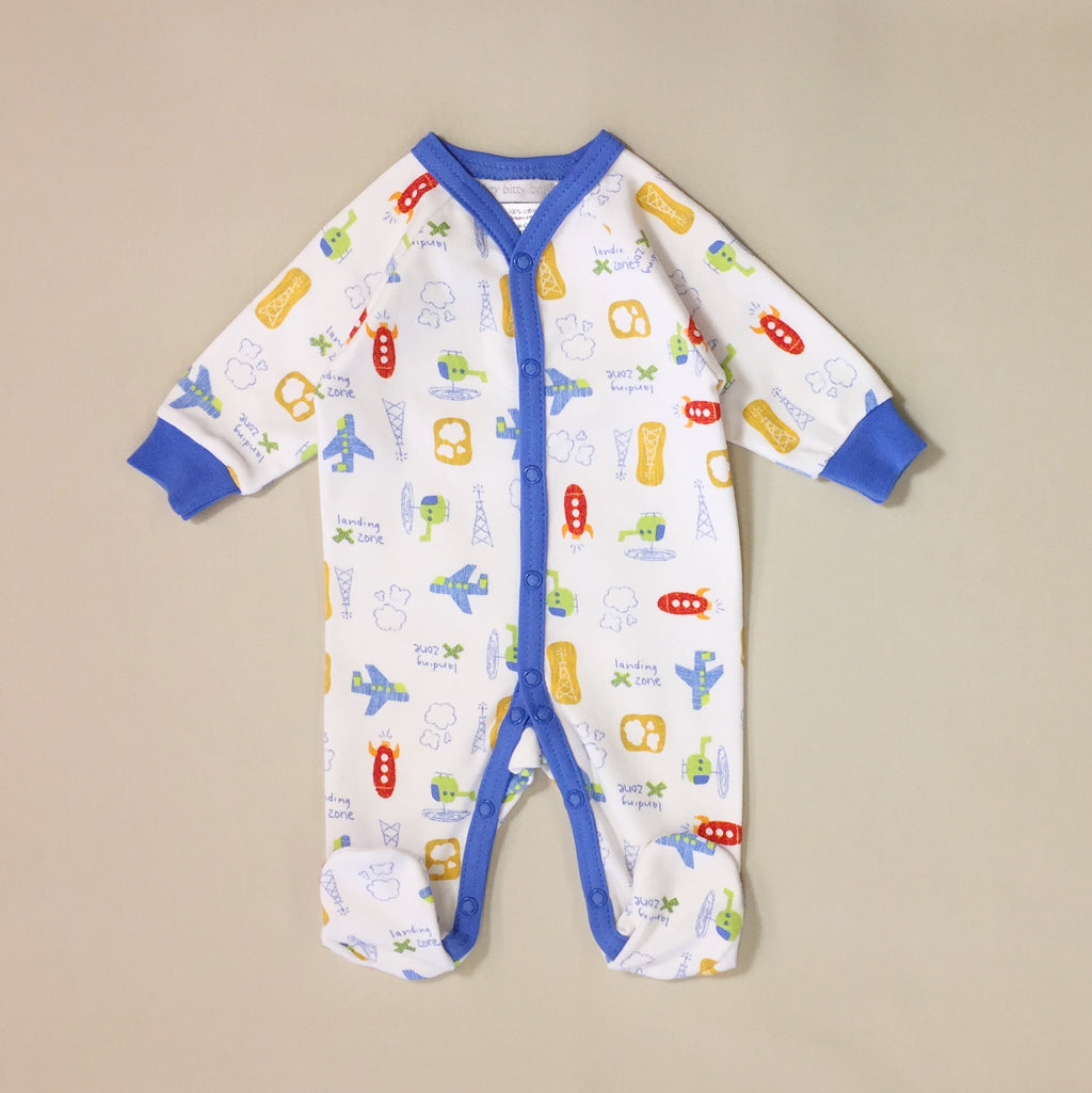 cotton baby sleeper with airplanes