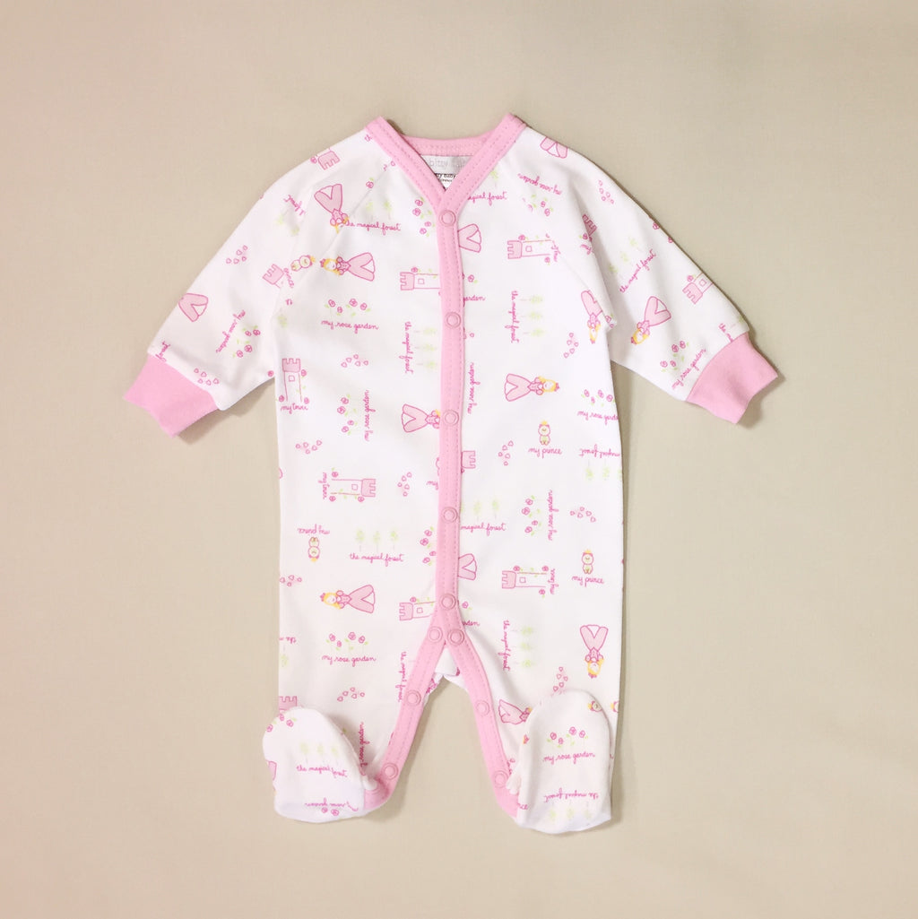 cotton snap front footed sleeper for baby