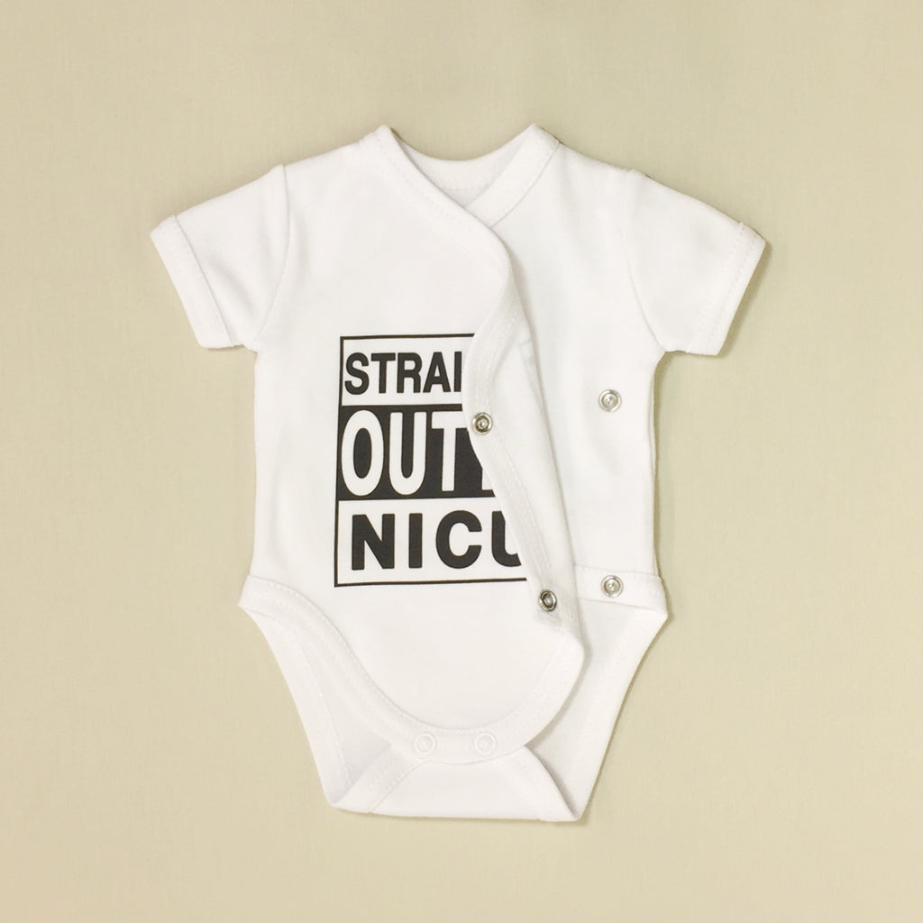 NICU Friendly Graphic Kimono Bodysuit Straight Outta NICU Made in Canada