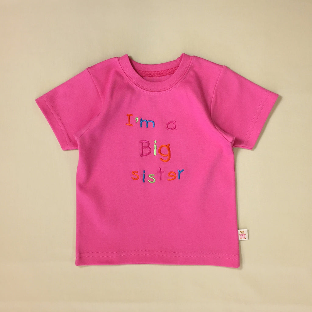 fuchsia big sister t-shirt