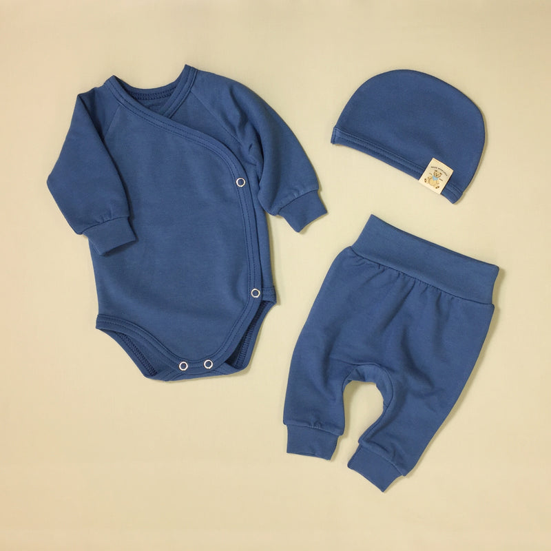 bamboo lyocell preemie baby layette set noble blue