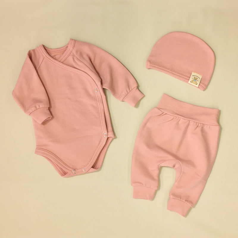 bamboo lyocell preemie baby layette set barely blush