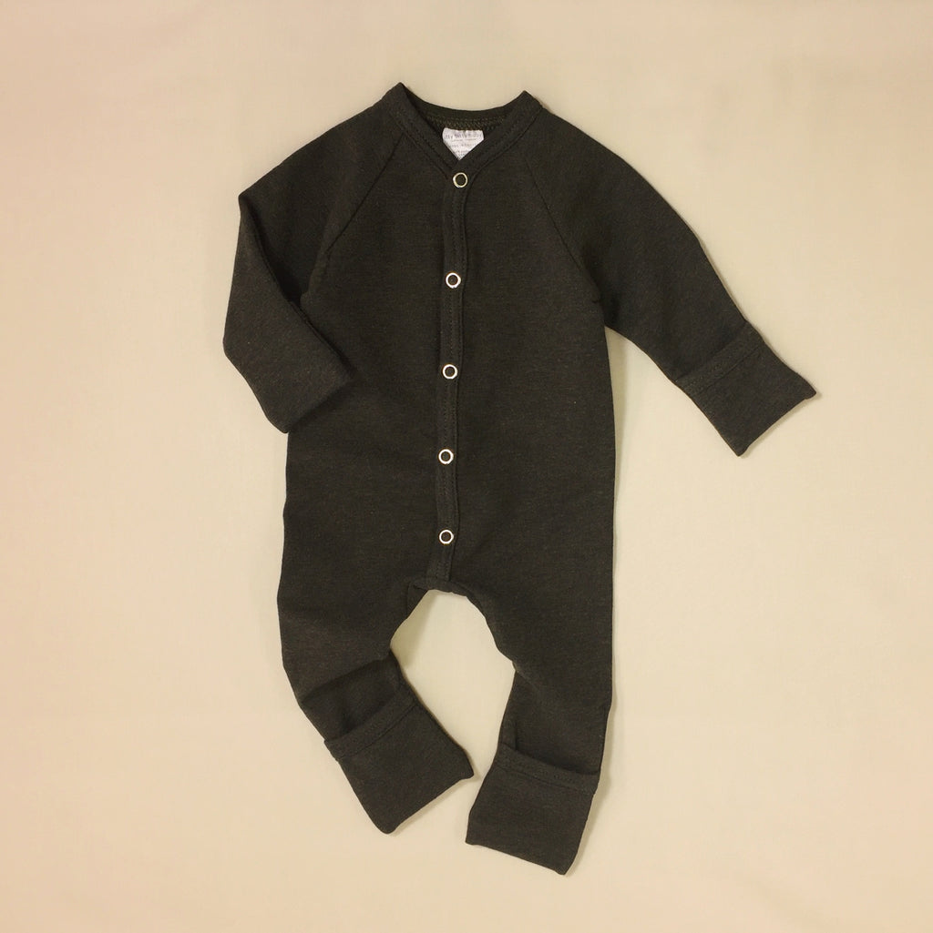 Made in Canada Bamboo Lyocell Baby Clothes Playsuit Moss Green