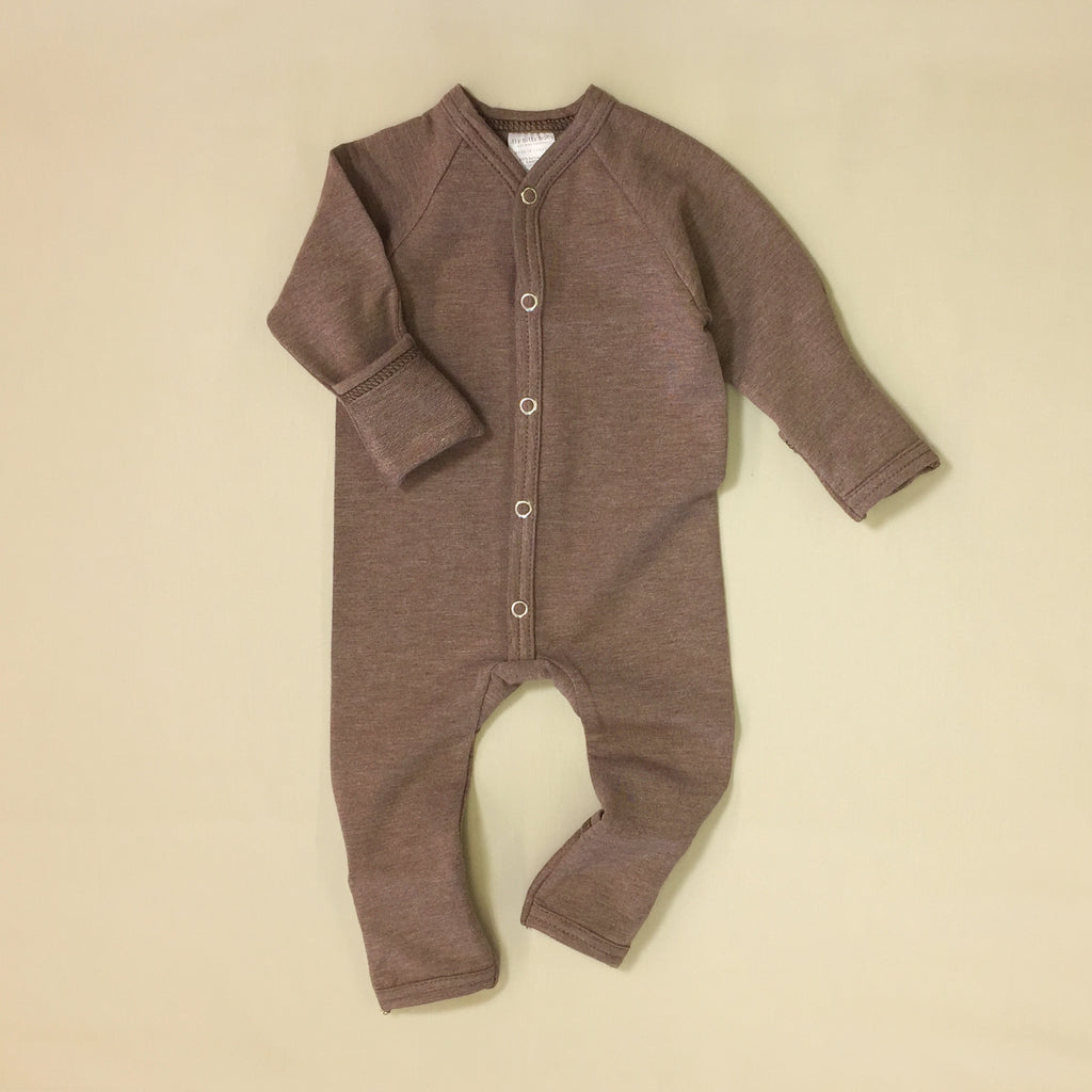mini boo bamboo preemie baby playsuit sequoia bark