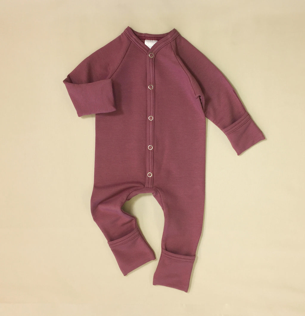 mini boo bamboo preemie baby playsuit wild currant