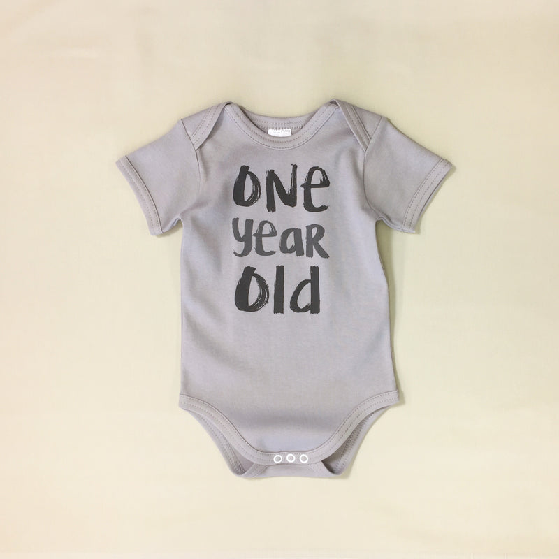 One Year Old graphic baby snap bodysuit