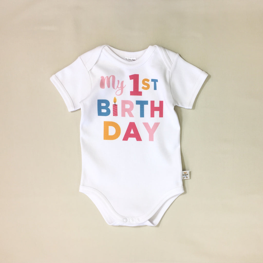 My 1st Birthday Pink graphic baby snap bodysuit