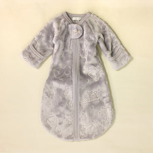 grey plush sleep sack