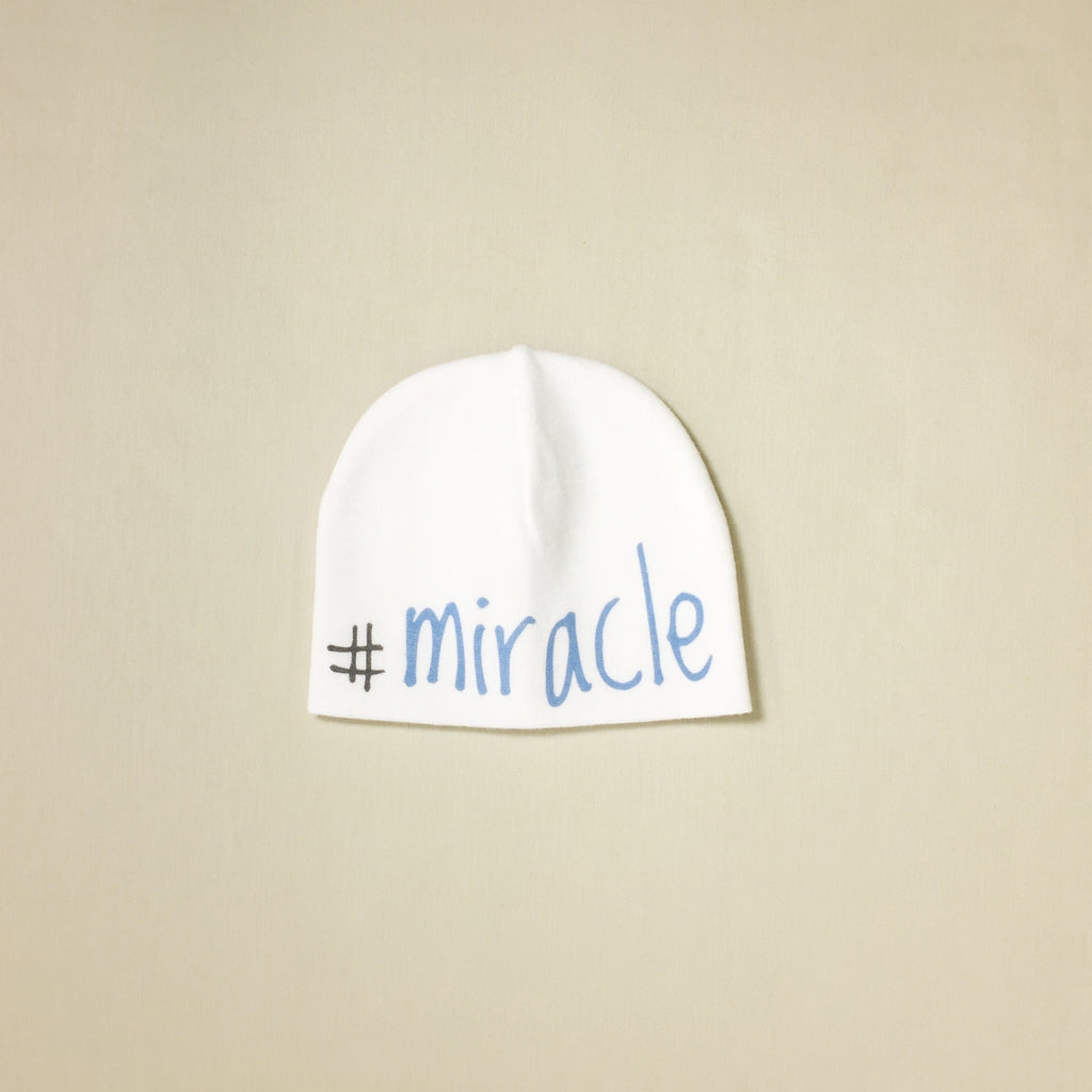 blue miracle baby hat