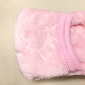 pink plush sleep sack  fold over mitten cuff closed