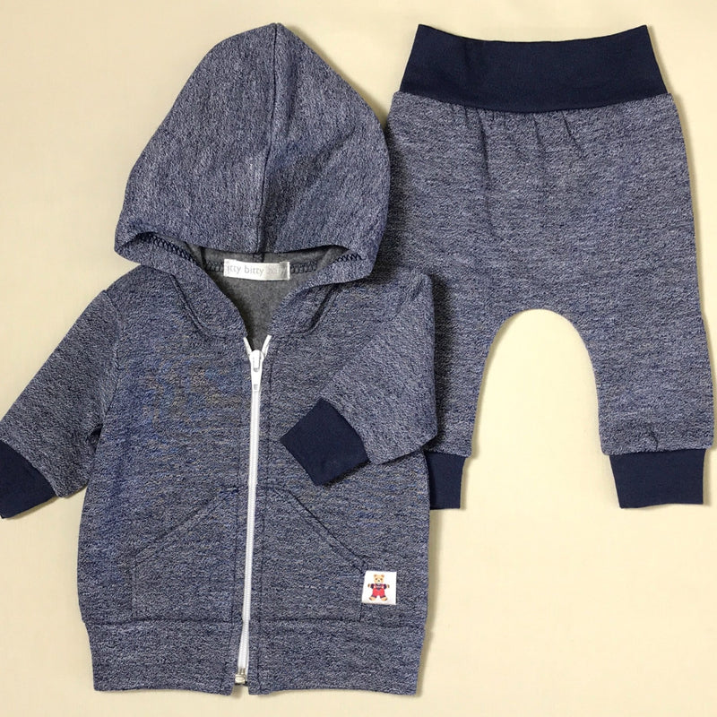 Navy Melange Hoodie and Jogger Set