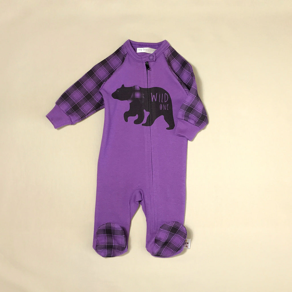 Wild One Purple Zip footie preemie baby