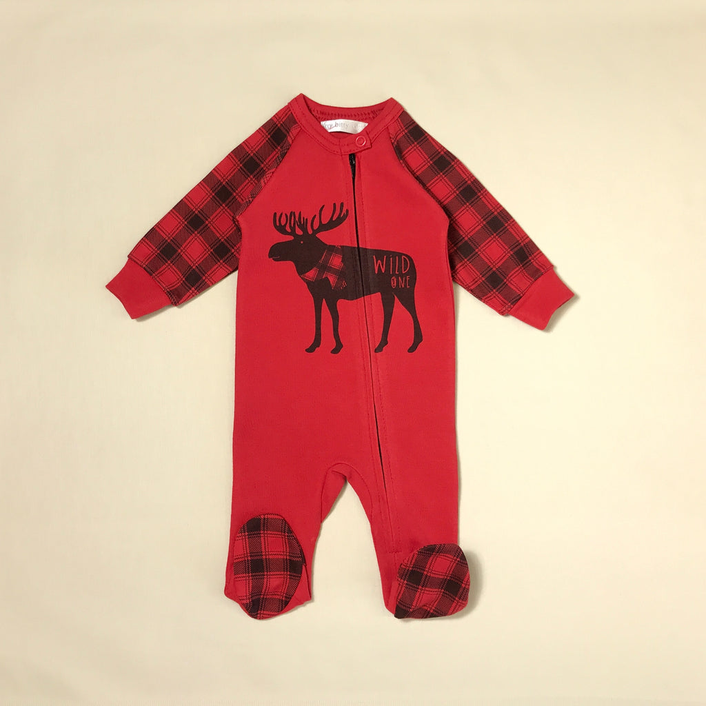 Wild One Red Zip Footie with Moose