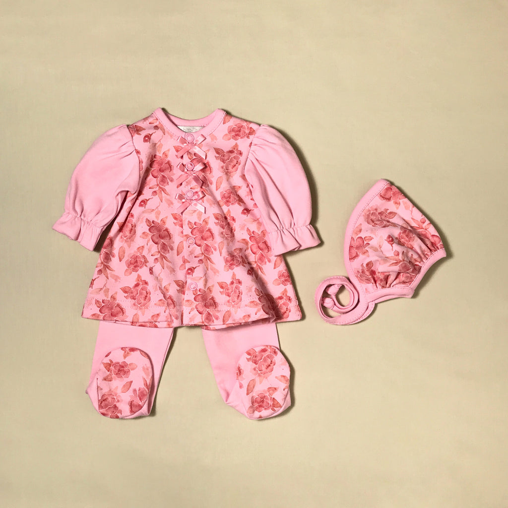 Pink Begonia Dress & Bonnet Set Preemie baby girl clothes Made in Canada