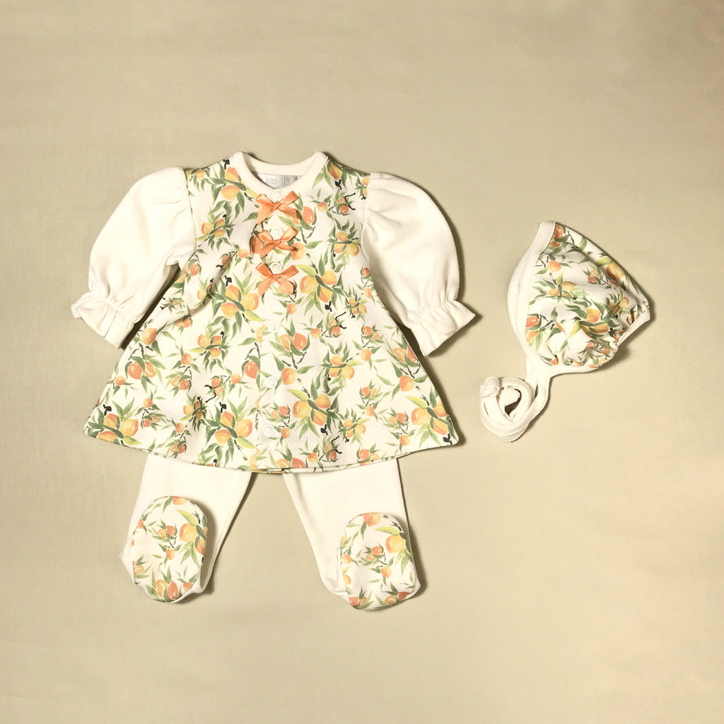 Georgia Peach Dress & Bonnet Set