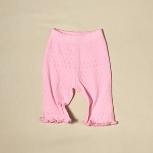 Organic pointelle cotton Pink Ruffle Dress & Pant Set baby girl Made in Canada