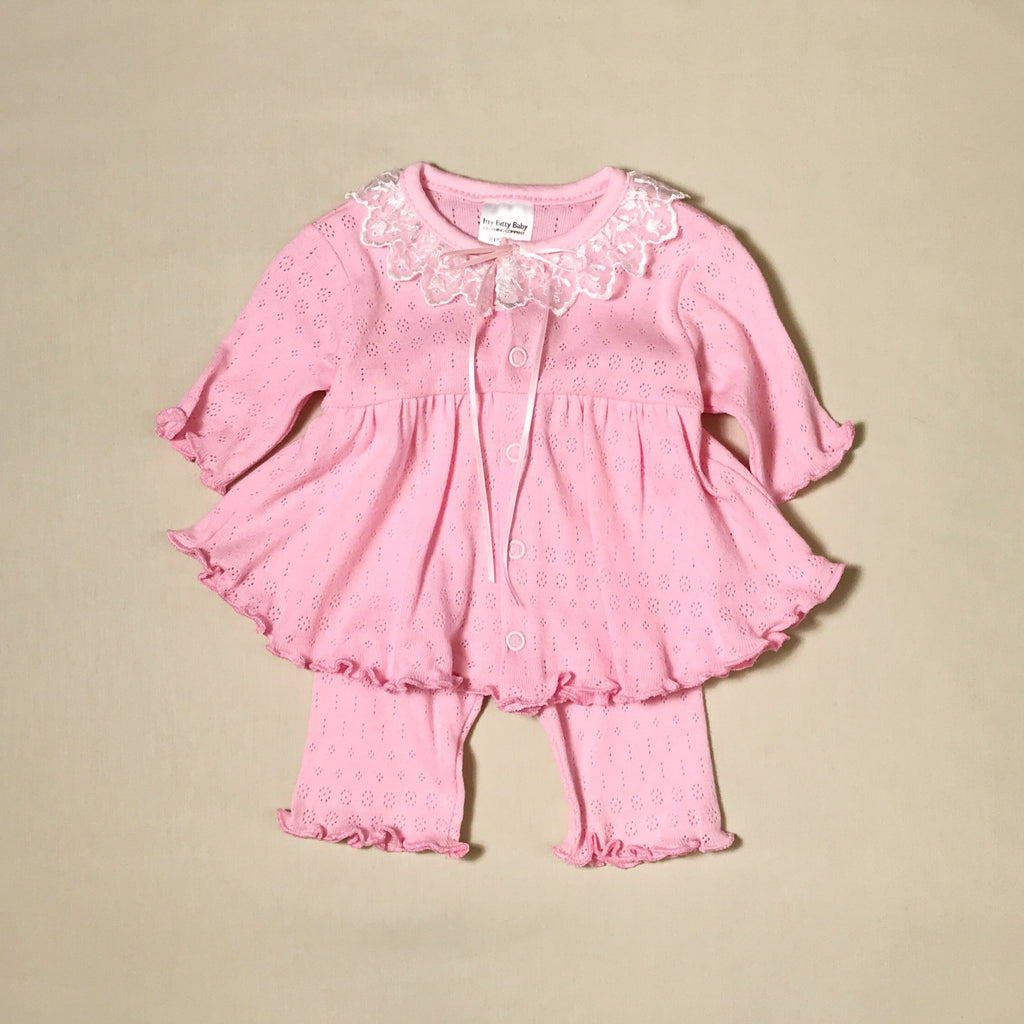 Organic Pink Ruffle Dress & Pant Set