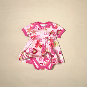 Retro Flowers Bodysuit Dress