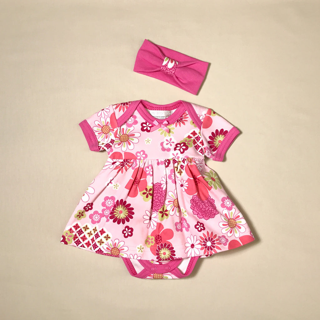 Retro Flowers Bodysuit Dress and Headband Set preemie baby Made in Canada