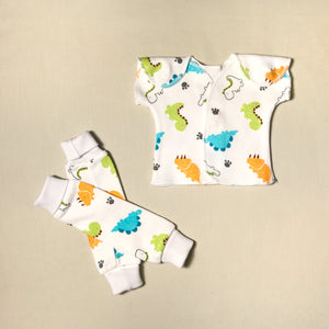 NICU Friendly dino white leg warmers preemie baby with NICU Friendly Dino t-shirt