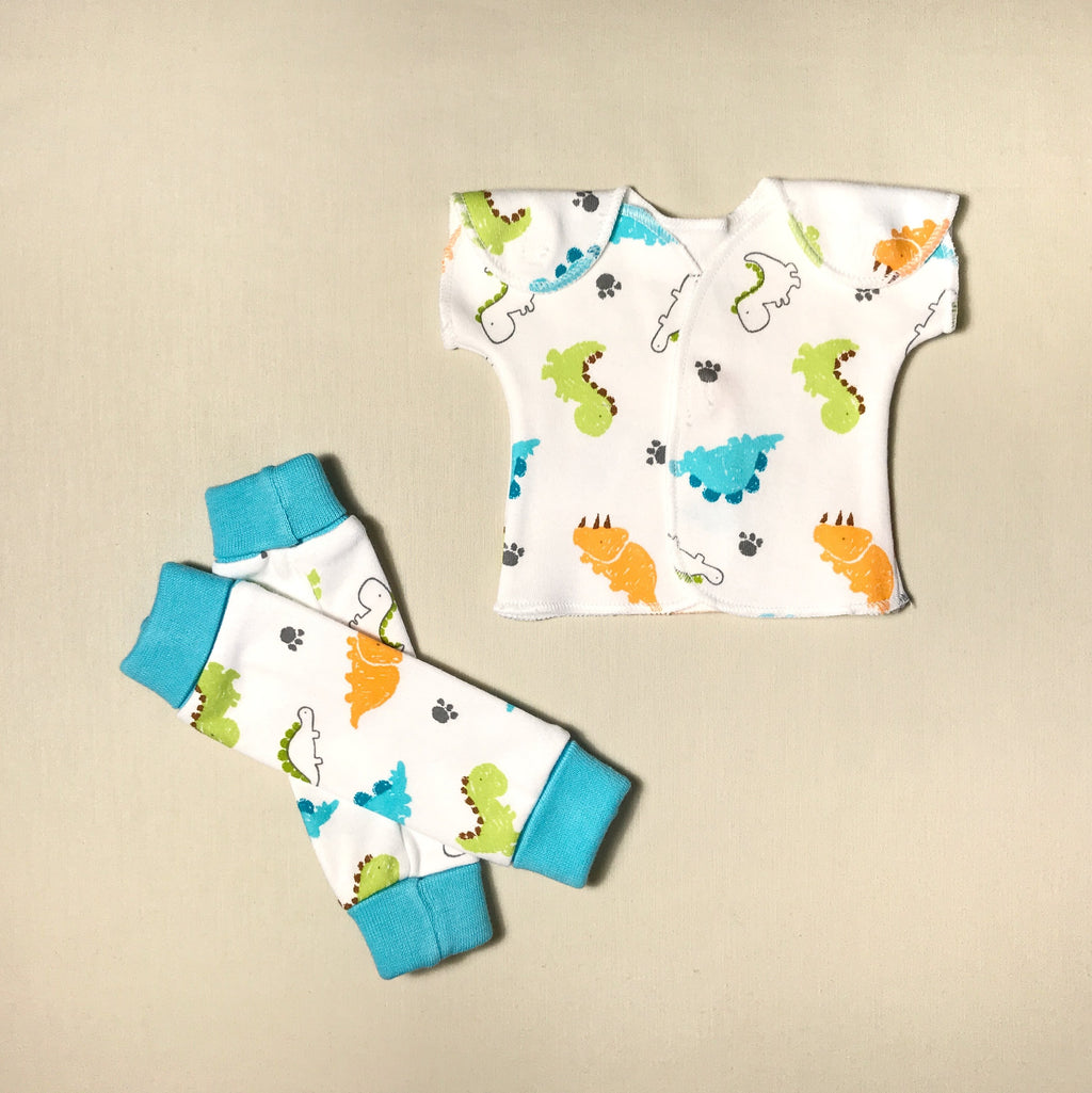 NICU Friendly Dinosaur leg warmers preemie baby infant clothing with Dino NICU t-shirt