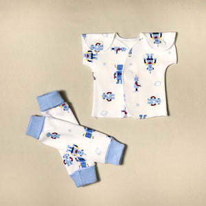 NICU Friendly Robots blue leg warmers preemie baby infant clothing with Robots NICU t-shirt