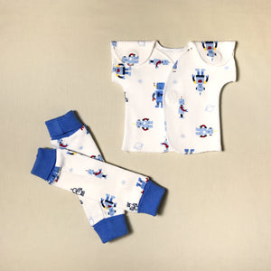 NICU Friendly deep blue Roboto leg warmers preemie baby infant clothing with Robots NICU t-shirt